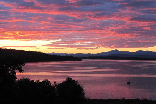 setting sun over Lake Champlain